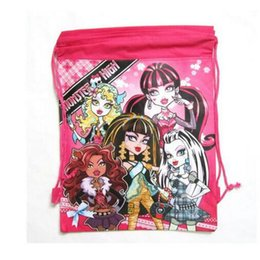 drawstring backpack children Coupons - 1PCS Monster High Children Drawstring BackpacSchool Shopping Bags 34*27CM Non Woven Fabrics Kids Xmas Party Gift