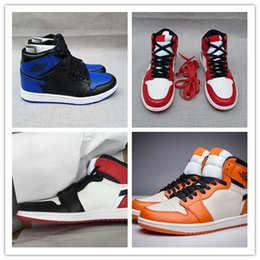 Wholesale increasing muscle size - 2018 High Quality New 1 OG Black Toe 1s Mens Basketball Shoes Men White Black Red Sports Trainers Sneakers Shoes size 41-47
