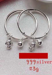 Wholesale Bracelet Children Bell - Children Small bell pendant Bracelet Adjustable freely 999 pure Silver Bangle 99.9% Sterling Silver Bangle with dog pendant for kid one pair