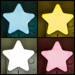 Wholesale Power Saving Switches - Star Shape Night Lamp cartoon Power Saving Plug In LED Light Durable Plastic Smart Switch Lamps New Arrival 2cz B