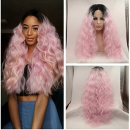 Wholesale Kinky Curly Hair Wigs - Wholesales Price Ombre Afro Kinky Curly Synthetic Lace Front Ombre Black to Light Pink Heat Resistant Hair Wigs Loose Curly Lace Front Wig