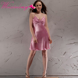 Wholesale Ladies Nighties Wholesale - WEIXINBUY Sexy Ladies Silk Satin Night Dress Sleeveless Nighties V-neck Nightgown Sleepwear Nightwear New