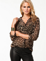098a7a6a18 Womens Ladies Chiffon Casual Leopard Print Long Sleeve Blouse Loose T Shirt  Tops Plus Size