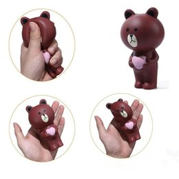 Wholesale Sitting Bears - Squishy Love Bear Sitting Bear 12cm Slow Rising Toy Relieve Stress Cake Sweet Animal PU Cell Phone Strap Phone Pendant KeyChain Toy Gift