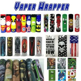 Wholesale America Covers - colorful sticker wrap for 18650 battery protective cover sleeves 45 designs Superman Iron Man Wolverine Captain America The Flash Spider Man