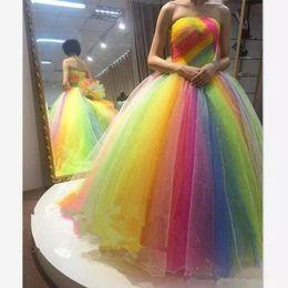 2019 multi abito colorato 2018 Colorful Rainbow Prom Dresses ball gown senza spalline Lunghezza del pavimento lace up corsetto più il formato Lungo abiti da ballo partito formale sera