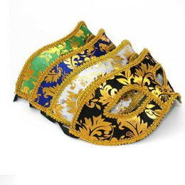 Wholesale Prince Adult Costume - Adult Man Lace Sequin Eye Mask Masquerade Fancy Dress Costume Party Prince Wedding Masks Halloween Christmas