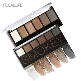 trucco fumo dell'ombretto Sconti FOCALLURE Palette di ombretti 6 colori Glamorous Smokey Eye Shadow Shimmer Colors Kit di trucco di Focallure
