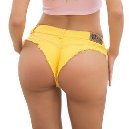 Jeans serrés en Ligne-Nouveau Lei Ya Nouveau Modèle D'Été Femme Tide Jeans Sport Shorts Pantalon Serré Discothèque À Taille Basse Sexy Style Européen