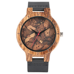 Wholesale Men Real Watches - New Arrical Males Zebra Pattern Watches Real Wooden Case with Handmade Leather Strap Wrist Watch Casual Trendy Style Men Clock Gift