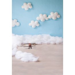Wholesale Children Toy Computer - Blue Sky White Clouds Baby Pilot Photography Backdrops Vinyl Printed Toy Aircraft Kids Children Boy Photo Shoot Backgrounds for Studio