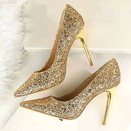 Wholesale Bronze Bling - Women Pumps Bling Fashion High Heels Sexy Women Shoes Gold Ladies Shoes Women High Heels Summer Wedding Shoes