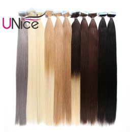 Wholesale blonde weft remy hair extensions - UNice Hair 50g Remy Glue Skin Weft Tape In 100% Brazilian Human Hair Extensions Wholesale Cheap Nice Natural Straight 18-24 inch Bulk Hair