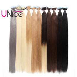 Wholesale Hair Extension Tape Blonde - UNice Hair 100g Remy Glue Skin Weft Tape In 100% Brazilian Human Hair Extensions Wholesale Cheap Nice Natural Straight 18-24 inch Bulk Hair