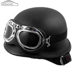 Wholesale Casco Motocross - Vintage German Style Unisex Motorcycle Helmet Black Motocross Half Capacetes de Motociclista w  Goggles Casco Moto for Scooter