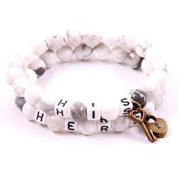verrouillage clé couple bracelet Promotion NCRHGL KEY LOCK Couples Bracelets Howlite Blanc Bracelets En Pierre Naturelle SON HERS Bracelet Perlé Bijoux Pour Femmes Hommes Présent