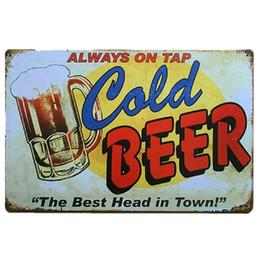 rubinetti da birra bar Sconti Sempre acceso Tap Cold Beer Vintage Style Metallo Targhe in metallo Piatti in metallo Bar Bar Club Home Decorazioni per la casa Art Chic Poster