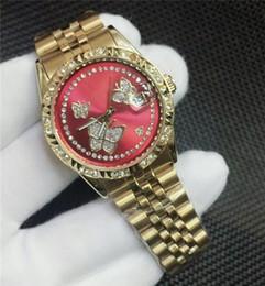 Assista mulher de aço resistente à água on-line-Top de luxo mulheres relógios de aço inoxidável relógio de quartzo vermelho resistente à água relógio de diamantes moda montres pour femmes orologi donna