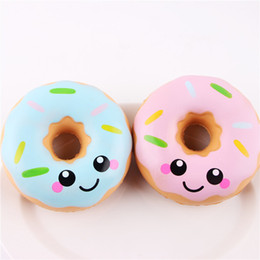 blue rose charms Promo Codes - 2018 Squishy Doughnut Slow Rising Decompression Toys Jumbo Food Bread Cake For Kids Adults Blue Pink Stress Relief Toy