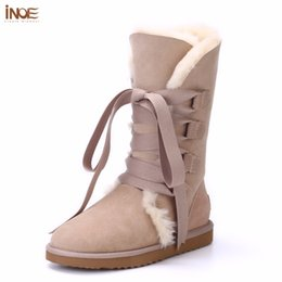 Wholesale natures shoes - INOE Fashion women lace up winter high snow boots real sheepskin leather nature fur lined winter flats shoes bowknot black brown