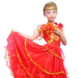 Garota de roupas abertas on-line-Dança Flamenco do miúdo Vestido de Dança Abertura Traje Da Menina Flamenco Dança Roupas Espanhol Paso Doble Traje
