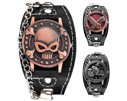 Wholesale Watch Chain Copper - wholesale men Copper Skull Leather Watch fashion mens punk military sports motorcycle eagle retro chain quartz 2018 watches