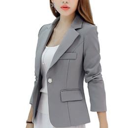 Damen marineblau jacke online-New Long-sleeved Slim Women Blazers And Jackets Small Women Suit Korean Version (Gray Blue Wine Red Navy blue) Ladies Blazer S18101305