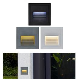 2019 cajas de luz led 3W llevó la luz de la escalera con una caja incrustada Luces de aluminio de paso Al aire libre impermeable IP65 LED Lámpara de pared Footlight cajas de luz led baratos