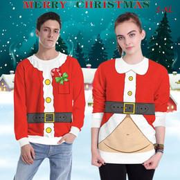 2019 unisex navidad sudaderas Unisex 3D Digital Print Sweatshirt O Neck Christmas Impreso Hoodies Casual Full Sleeve Pullover Camisetas Mujeres Hombres Ropa Tops LJJA1110 unisex navidad sudaderas baratos