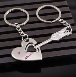 Wholesale love necklace for couples - Lovers Gift Couple Love Heart Keychain Fashion Keyring Creative Key Ring Arrow Heart Chain Keychain Ring Set for Lovers Gift KKA4136