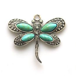 Jóia da libélula vintage on-line-2 pcs pingente de pedra do vintage moda jóias new 2017 libélula animal antigo cor pingente diy colar de jóias fazendo