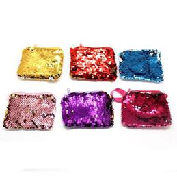 Wholesale Purses For Kids - Luxury Mermaid Sequin Coin Purses Bag Reverse Velvet Lanyard Wallet For Kids Children Festive Prom Supplies CCA9333 120pcs