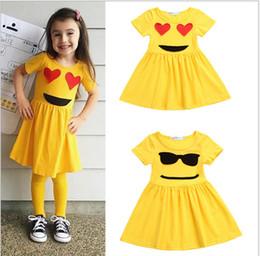 Wholesale Jumpers Clothing For Kids - 2018 Summer Girl's Emoji Dress for Gilrs Princess Short Sleeve Jumper Skirt for Baby Cihldren Kids Smiling Face Clothes Vest dress