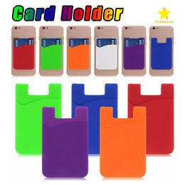 Wholesale Wholesale Card Holders - Ultra-slim Self Adhesive Credit Card Wallet Card Set Card Holder for Smartphones for iPhone 7 Colorful Silicon
