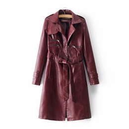 Ceinture en cuir marron en Ligne-GTGYFF rose beige noir marron faux manteau veste en cuir survêtement avec col de ceinture pour les femmes hiver vêtements chauds manteaux pardessus