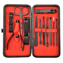 12 forbici online-12 pz In Acciaio Inox Clipper Kit Manicure Pinza Pinzette Scissor Pick Pick Professionale Kit Grooming Con Custodia Custodia Colore Nero