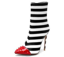 chaussures talons amérique Promotion Bottillons à bout pointu femme Europe Amérique 12cm talon haut tube de cuir à talon aiguille Martin bottes Martin discothèque chaussures de mode sexy