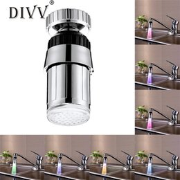 Wholesale change sink tap - Home Supplies Kitchen Sink 7Color Change Water Glow Water Stream Shower LED Faucet Taps Light drop shipping Wholesale 0525