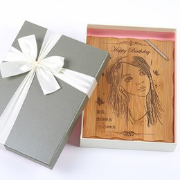 Wholesale Wedding Gift Ornaments - DIY Bamboo Clappers Engraving Customized Photo Birthday Gift