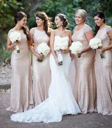 encaixe flare tampou manga vestido de casamento Desconto 2019 Rose lantejoulas de ouro de sereia Vestidos dama Cap Sleeve tripulação decote Fit e do alargamento da dama de honra Vestidos vestidos de festa de casamento