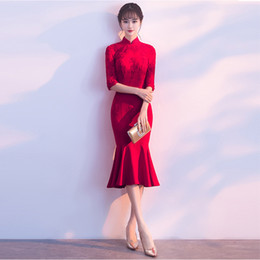 909c5fe91eed3 Haute Qualité Rouge Moderne Cheongsam À Vendre Sexy Court Qipao Robe  Traditionnelle Chinoise Oriental Style Robes Vestidos Chinos