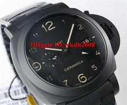 Wholesale Auto P - Luxury watch VS version pam438 series GMT p.9001 Automatic Movement Full black ceramic case strap Sapphire Crystal folding buckle