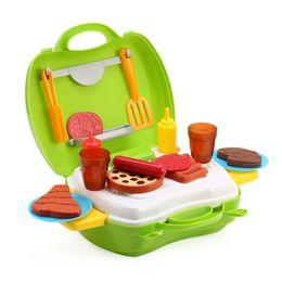 Wholesale pretend foods - 23pcs Kids Mini Simulation Kitchen Barbecue Tools Box Educational Pretend Play Toy Present Children Kitchen Toys Simulation Food