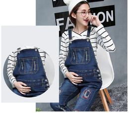 Wholesale Maternity Denim Jeans - Elastic Waist Maternity Overalls with Fashion Hole Jeans Pregnancy Jumpsuits Rompers Pregnant Women Causal Denim Maternity Clothes