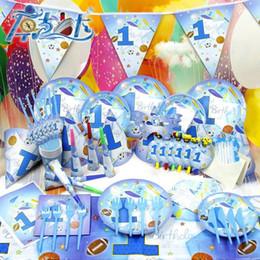 2019 decoraciones de fiesta de cumpleaños de lujo 78pcs DEPORTE de Lujo Tema Niños Fiesta de Cumpleaños Decoración Set Party Supplies