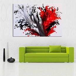 Dipinti inchiostro online-New Graffiti Dipinti Inchiostrato Rosso Nero Tela Dipinto a mano Astratta Pittura a olio Moderna Home Decoration Wall Art Immagine
