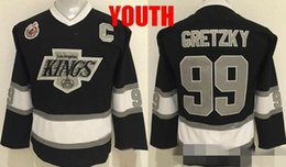 Wholesale Youth Hockey Cup - Youth Throwback Los Angeles Kings 99 Wayne Gretzky Black Kids Hockey Jerseys Boys Stitched LA KINGS 1893-1993 100th Stanley Cup Patch
