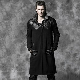 Wholesale Vintage Leather Trench - Wholesale- Steampunk coat GOTHIC leather trench coat Gothic Bat Goethe aristocratic wool coat warm self-cultivation
