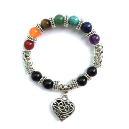 Wholesale Jade Pendant Purple - 7 Chakra Rainbow Bracelet Love Heart Pendant Boho Female Antique Silver Plated Jewelry Purple Crystal Jade Red Agate Bracelet D893S