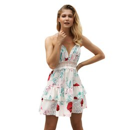 Abito floreale disegna donne online-Summer Women Floral Dress Chiffon Dresses Beach V-Neck Halter Backless Sexy Design senza maniche Stampa Gonna Girls Holiday